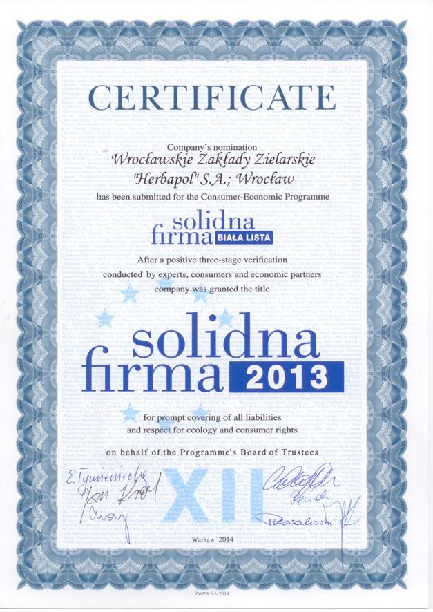 Certyfikat Solidna Firma 2013 dla Herbapol Wrocław