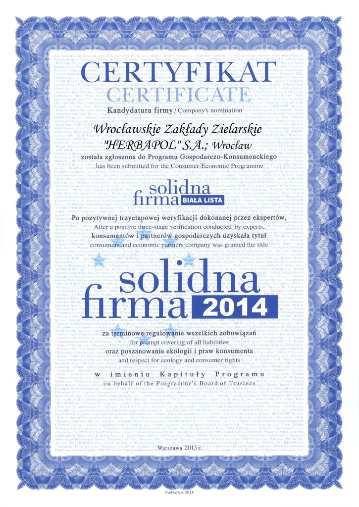 Solidna firma 2014 - certyfikat dla Herbapol Wrocław