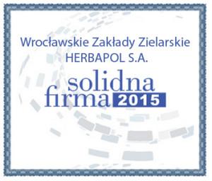 Solidna Firma 2015 - certyfikat elektroniczny dla Herbapol Wrocław